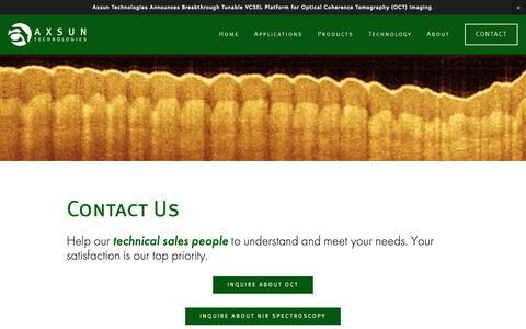 Screenshot of Contact Page axsun.com - Contact — Axsun Technologies - captured Nov. 3, 2018