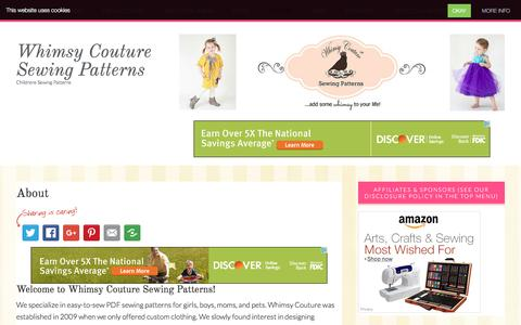 Screenshot of About Page whimsycouturesewingpatterns.com - Sewing Ideas and Easy Sewing Patterns from Whimsy Couture - captured Dec. 11, 2016