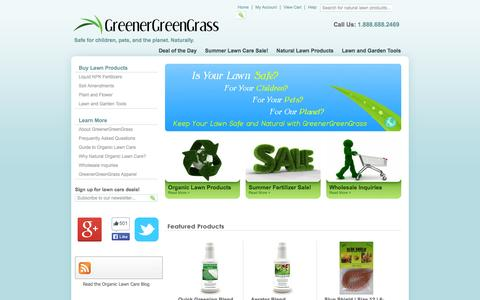 Screenshot of Home Page greenergreengrass.com - GreenerGreenGrass - Natural Organic Lawn Care - Safe and Sustainable - captured Sept. 30, 2014