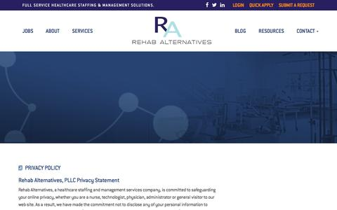 Screenshot of Privacy Page rehabalternatives.com - Rehab Staffing Agency Privacy Policy | Rehab Alternatives : Rehab Alternatives - captured Sept. 20, 2018