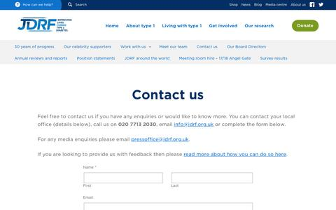 Screenshot of Contact Page jdrf.org.uk - Contact us - JDRF - captured Nov. 18, 2016