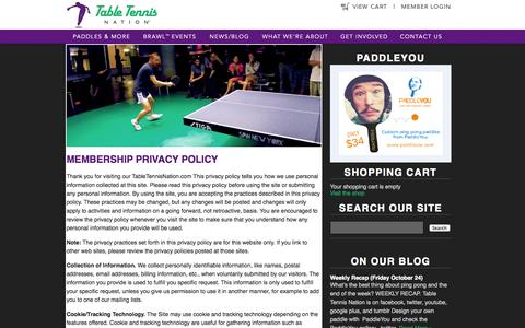 Screenshot of Privacy Page tabletennisnation.com - Table Tennis Nation - Membership Privacy Policytabletennisnation.com - captured Oct. 26, 2014