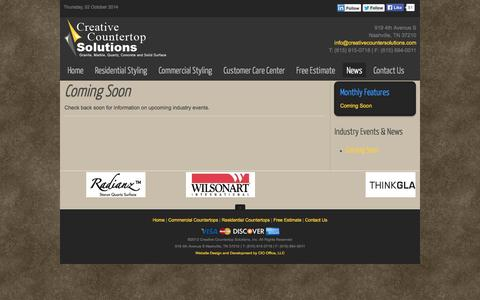 Screenshot of Press Page creativecountersolutions.com - News - Creative Countertop Solutions - captured Oct. 2, 2014