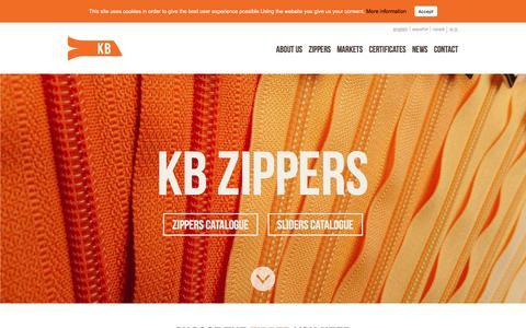 Screenshot of Home Page kreband.com - KB Zippers – Kreband Zippers - captured Aug. 9, 2016