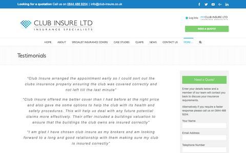 Screenshot of Testimonials Page club-insure.co.uk - Testimonials - Club Insure - Award Winning Leisure Brokers - captured Sept. 28, 2018