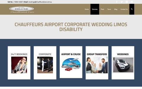Screenshot of Services Page chauffeuredcars.com.au - A Chauffeur for any occassion | Deluxe Chauffeured Cars - captured Nov. 24, 2016