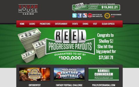 Screenshot of Home Page sugarhousecasino.com - SugarHouse Casino SugarHouse Casino   Philadelphia Casino, Dining & Entertainment - captured Sept. 30, 2014
