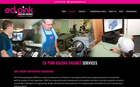 Screenshot of Services Page edpink.com - Services - Ed Pink Racing Engines - captured June 29, 2018