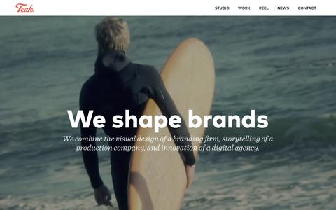 Screenshot of Home Page teaksf.com - Teak. San Francisco - A Branding & Content Studio - captured Sept. 16, 2015