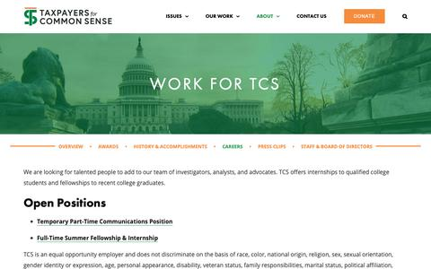 Screenshot of Jobs Page taxpayer.net - Work For TCS | Taxpayers for Common Sense - captured Oct. 19, 2018
