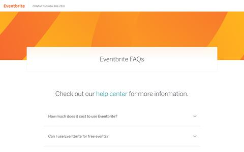 Screenshot of FAQ Page eventbrite.com - Frequently Asked Questions   Eventbrite - captured June 22, 2018