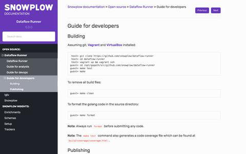 Screenshot of Developers Page snowplowanalytics.com - Guide for developers — Snowplow documentation  documentation - captured Feb. 10, 2020