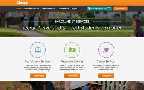 Screenshot of chegg.com - Chegg Enrollment Services | Student Recruitment and Retention Services | Chegg.com - captured March 18, 2016