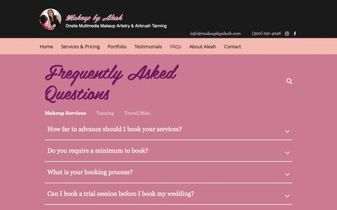 Screenshot of FAQ Page makeupbyaleah.com - Airbrush Makeup & Tanning | Minneapolis, MN | Makeup by Aleah | FAQs - captured Nov. 6, 2018