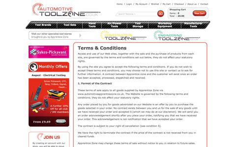 Screenshot of Terms Page automotive-toolzone.co.uk - Terms & Conditions - captured Sept. 30, 2014