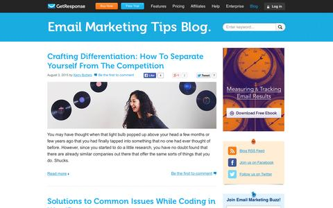 Screenshot of Blog getresponse.com - GetResponse Blog - Email Marketing Tips - captured Aug. 3, 2015