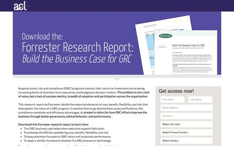 Screenshot of Landing Page acl.com - Download the Forrester Research Report: Build the Business Case for GRC - captured April 20, 2018