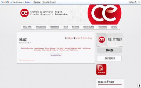 Screenshot of Press Page ccedmundston.com - News - Chambre de Commerce Région Edmundston -   French - captured Nov. 4, 2016
