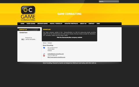 Screenshot of Contact Page game-consulting.com - Game Consulting - captured Sept. 30, 2014