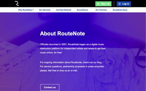 Screenshot of About Page routenote.com - About RouteNote | RouteNote: Sell Your Music Online - Digital Music Distribution - Promotion - Publishing - captured April 2, 2017