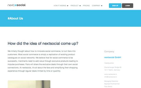 Screenshot of About Page nextsocial.io - About Us | nextsocial - captured Nov. 2, 2014