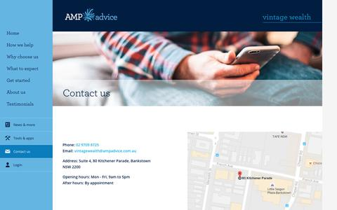 Screenshot of Contact Page amp.com.au - Contact Us - Vintage Wealth - captured Oct. 27, 2017