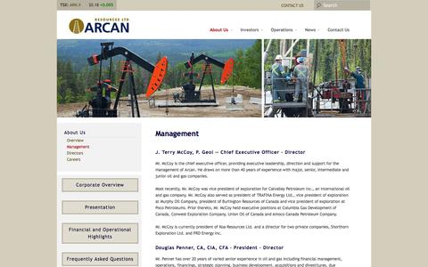 Screenshot of Team Page arcanres.com - Management | Arcan Resources Ltd. - captured Oct. 4, 2014