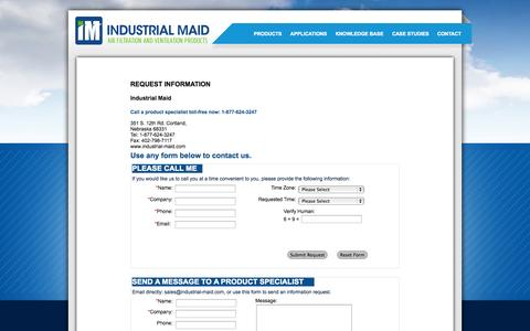 Screenshot of Landing Page industrial-maid.com - Industrial-Maid: Request Printed Material - captured Oct. 27, 2014