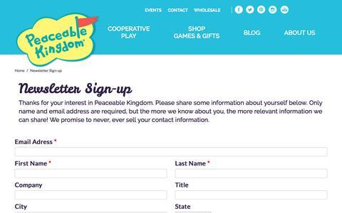 Screenshot of Signup Page peaceablekingdom.com - Peaceable Kingdom - captured July 11, 2016