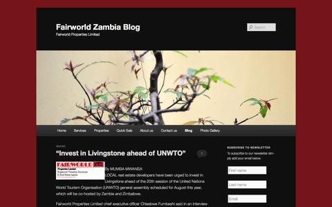 Screenshot of Blog fairworldzambia.com - Fairworld Zambia Blog | Fairworld Properties Limited - captured Oct. 5, 2014