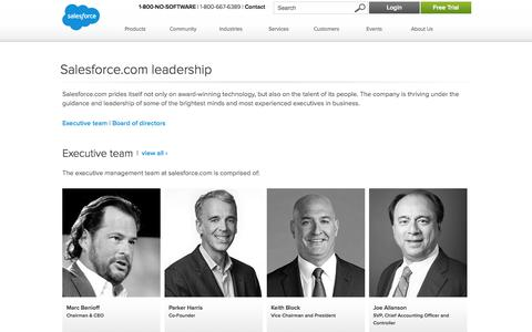 Screenshot of Team Page salesforce.com - Salesforce.com Cloud Computing Leaders - Salesforce.com - captured Oct. 10, 2014