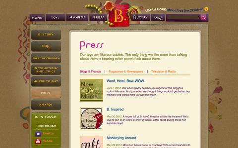 Screenshot of Press Page mybtoys.com - Press | B. toys - captured Sept. 23, 2014