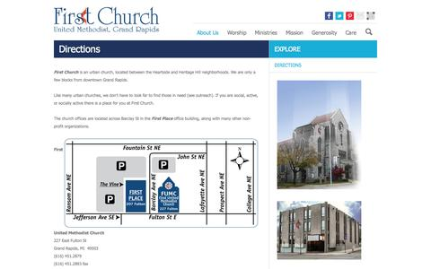 Screenshot of Maps & Directions Page grandrapidsfumc.org - First United Methodist Church | Directions - captured Oct. 6, 2014