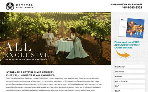 Screenshot of Landing Page crystalcruises.com - Crystal River Cruises – - captured May 4, 2016
