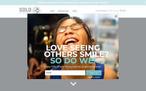 Screenshot of Home Page soloeyewear.com - Polarized Eco Friendly Sunglasses that Give Back – SOLO Eyewear – SOLO Eyewear - captured July 26, 2018