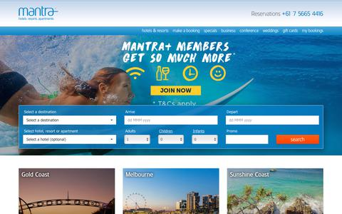 Screenshot of Home Page mantra.com.au - Mantra Hotels | Accommodation Melbourne, Gold Coast, Sydney & more - captured Feb. 14, 2019