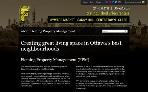 Screenshot of About Page fpm.ca - Downtown Ottawa Upscale Apartments - About FPM - captured Oct. 6, 2014