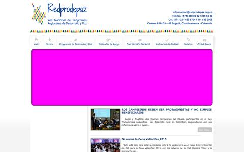 Screenshot of Home Page redprodepaz.org.co - Bienvenidos a la portada - captured Sept. 13, 2015