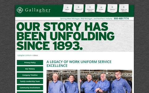 Screenshot of About Page gallagheruniform.com - A legacy of work uniform service excellence | Gallagher Uniform - captured July 15, 2018