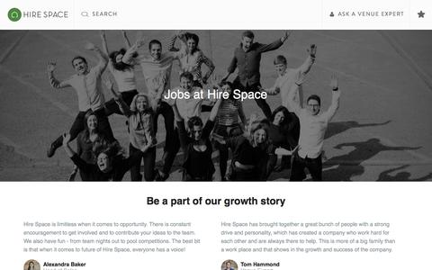 Screenshot of Jobs Page hirespace.com - Join Our Team | Hire Space - captured July 13, 2018