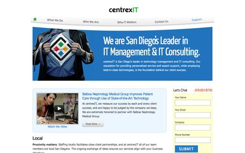 Screenshot of Home Page centrexit.com - San Diego's Leader in IT Management and IT Consulting | centrexIT - captured Sept. 30, 2014