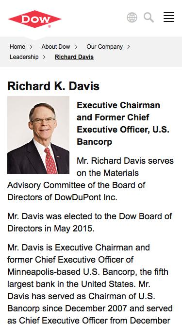 Screenshot of Team Page  dow.com - Richard Davis | Dow