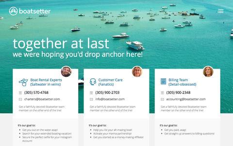 Screenshot of Contact Page boatsetter.com - Contact Us | Boatsetter.com - captured Sept. 19, 2016