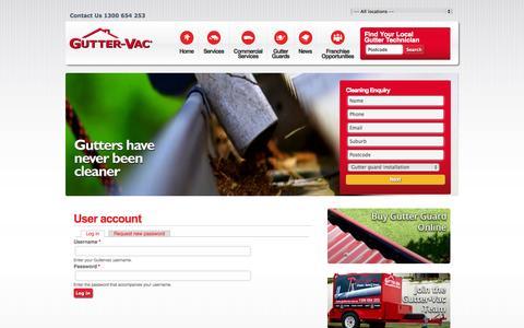 Screenshot of Login Page guttervac.com.au - User account   Guttervac - captured Nov. 2, 2014