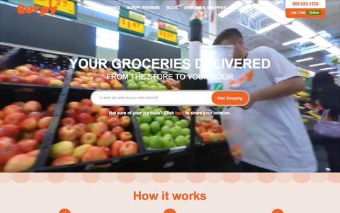 Screenshot of Home Page burpy.com - Grocery Delivery, Grocery Store, Online Grocery Shopping in Austin :: Burpy.com - captured Sept. 13, 2015