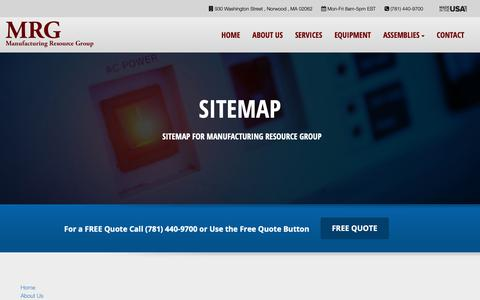 Screenshot of Site Map Page mrg-inc.com - Sitemap | Manufacturing Resource Group, Inc. - captured Oct. 1, 2018