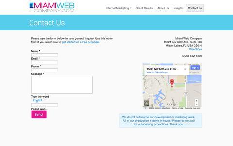 Screenshot of Contact Page miamiwebcompany.com - Contact Us - Miami Web Company - captured Oct. 27, 2014