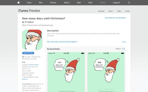 Screenshot of iOS App Page apple.com - How many days until Christmas? on the App Store on iTunes - captured Oct. 30, 2014