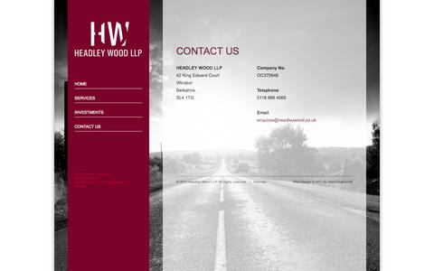 Screenshot of Contact Page headleywood.co.uk - Headley Wood LLP | Management Consultancy - captured Oct. 2, 2014