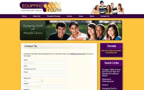 Screenshot of Contact Page equippingyouth.org - Contact Us - captured July 20, 2018